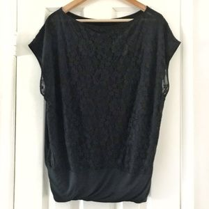Express Black Silky Feeling Front/ Lace Back Shirt